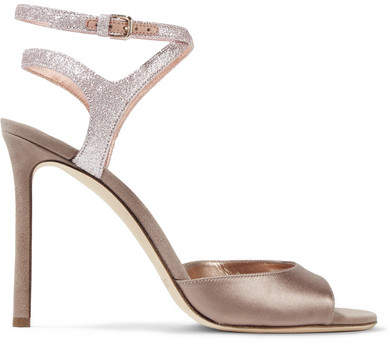 Jimmy Choo - Helen 100 Glitter-trimmed Satin And Suede Sandals - Antique rose
