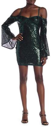 Wow Couture Cold Shoulder Bell Sleeve Sequin Mini Dress