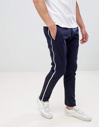 HUGO Franz side zip slim fit pants in navy