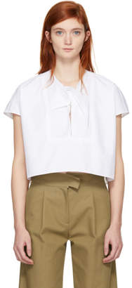 Carven White Knot Boxy Blouse