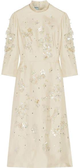 Prada - Embellished Silk-gazar Midi Dress - Ecru