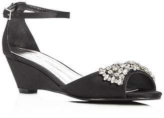 Caparros Hugh Embellished Satin Demi Wedge Sandals