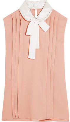 Miu Miu - Embellished Silk Satin-trimmed Pleated Crepe Blouse - Blush