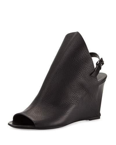 Balenciaga Balenciaga Open-Toe Slingback Wedge Sandal, Black