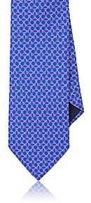 Barneys New York MEN'S OMBRÉ-ELLIPSE-PRINT SILK FAILLE NECKTIE-BLUE
