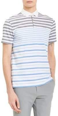 Calvin Klein Slim-Fit Stripe-Print Cotton Polo