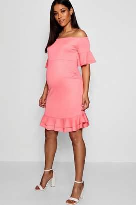 boohoo Maternity Off Shoulder Frill Smock Dress