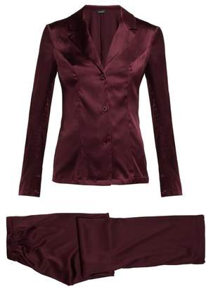 La Perla Silk Blend Pyjama Set - Womens - Burgundy