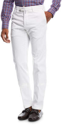 Kiton Corduroy Straight-Leg Pants, White