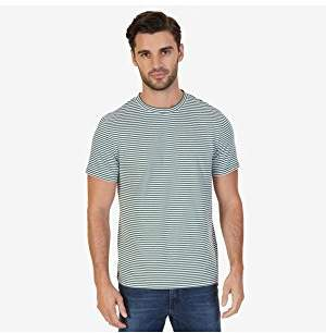 Nautica Men's Short Sleeve Slim Fit Striped Crew Neck T-Shirt