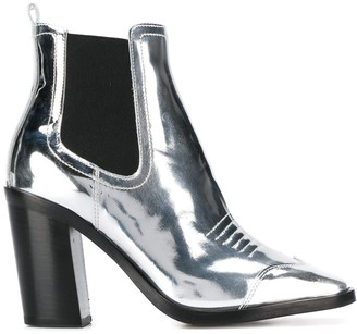 Off-White metallic heeled ankle boots