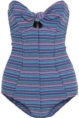 Lisa Marie Fernandez Poppy Strapless Knotted Striped Seersucker Swimsuit