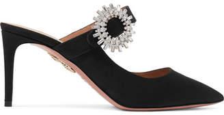 Aquazzura Blossom Crystal-embellished Grosgrain Mules - Black