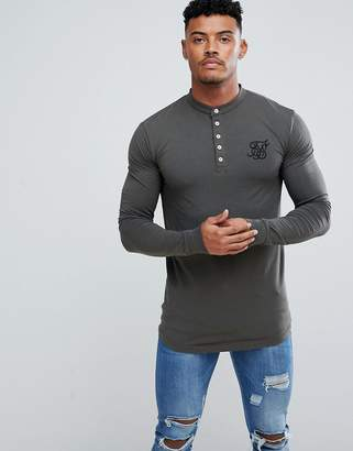 SikSilk Muscle Fit Long Sleeve Top In Khaki