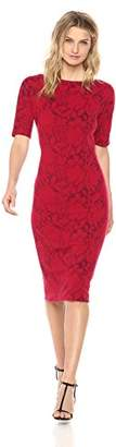 Maggy London Women's Shadow Flower Knit Bateau Neck Jacquard Sheath