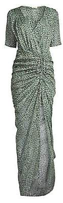 Eywasouls Malibu Women's Elke Ruched Leopard Print Maxi Dress