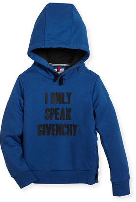 Givenchy I Only Speak Givenchy Hooded Sweatshirt, Size 4-5 $250 thestylecure.com