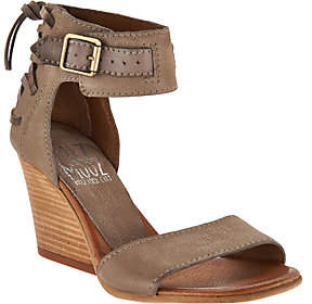 Miz Mooz Leather Wedges with Buckle and TieDetail - Kiani