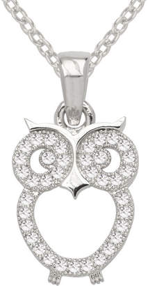JCPenney SPARKLE ALLURE Sparkle Allure Pure Silver Plated Cubic Zirconia Fashion Owl Pendant Necklace