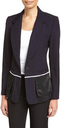 DKNY Wool & Satin Fringe Blazer, Navy $698 thestylecure.com