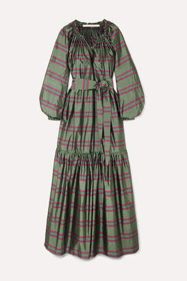 Bardot Anna Mason Belted Striped Silk-taffeta Maxi Dress - Green