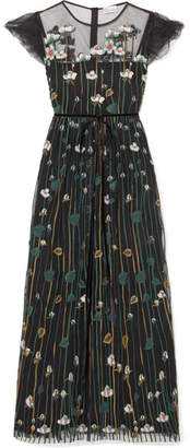 RED Valentino Floral-embroidered Tulle Midi Dress - Black