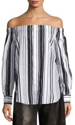 Polo Ralph Lauren Striped Off-The-Shoulder Shirt $145 thestylecure.com