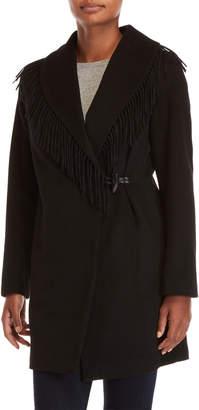 Lauren Ralph Lauren Fringe Shawl Collar Wrap Coat