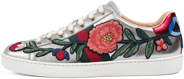Gucci New Ace Floral Leather Sneaker, Silver 5