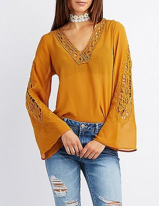Crochet-Trim Bell Sleeve Blouse $23.99 thestylecure.com