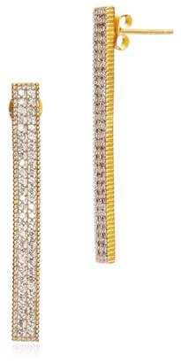 Freida Rothman 14K Yellow Gold Plated Sterling Silver Pave CZ Bar Drop Earrings
