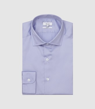 Reiss Remote - Slim Fit Single Cuff Shirt in Mid Blue