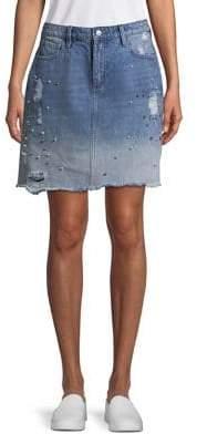 Buffalo David Bitton Faux Pearl-Embellished Denim Skirt