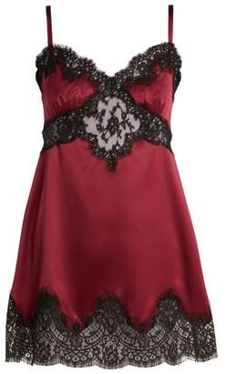 Dolce & Gabbana Silk And Lace Slip Dress - Womens - Dark Red