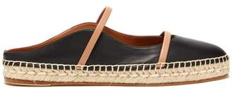 Malone Souliers Sienna Waved Edge Leather Espadrilles - Womens - Black Nude