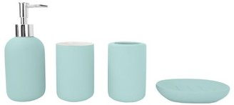 Home Basics 4 Piece Rubberized Ceramic Bath Accessory Set, Blue