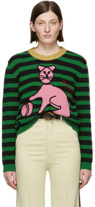 Gucci Green Stripes Cat Sweater