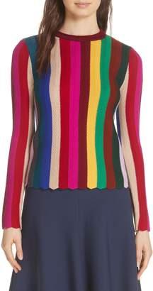 Milly Chevron Vertical Stripe Wool Blend Scallop Hem Sweater