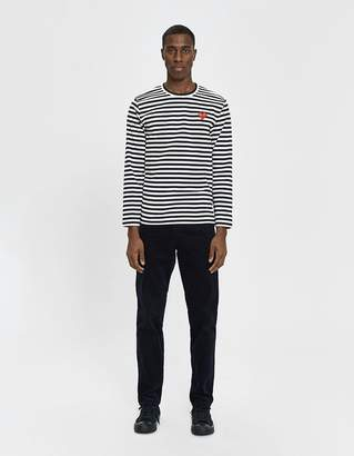 Comme des Garcons L/S Striped Red Heart Tee in Black / White
