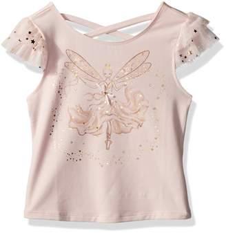 Kate Mack Little Girls' Fairy Dance X Back Tee W/ Gold Foil Screen Print