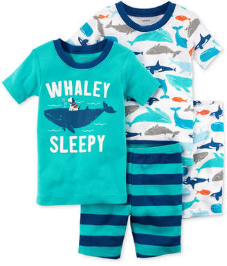 Carter's 4-Pc. Whale-Print Cotton Pajama Set, Baby Boys