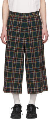 Facetasm Green Plaid Wide Pants