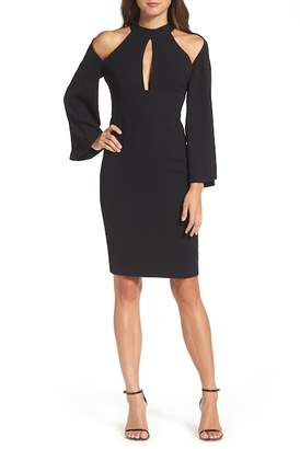 Bardot Drape Sleeve Cutout Sheath Dress