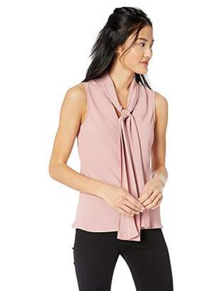 45b37c72953bf Nine West Women s Sleeveless TIE V-Neck Light Weight Crepe Woven Blouse