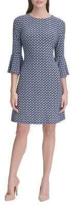 Tommy Hilfiger Jersey Paisley Bell-Sleeve A-line Dress
