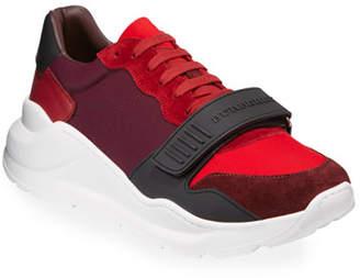Burberry Men's Regis Neoprene Low-Top Sneakers w/ Exaggerated Sole, Dark Red