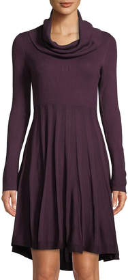 Iconic American Designer Long-Sleeve Cowl-Neck Sweaterdress