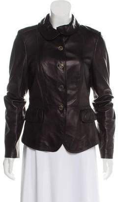 Burberry Button-Up Leather Jacket