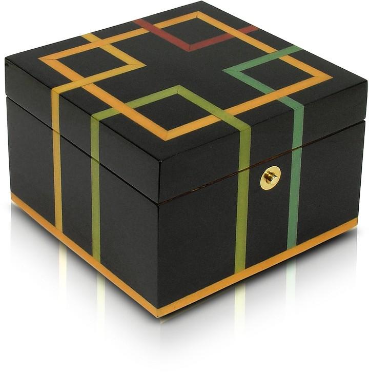 Forzieri Black Geometric Inlaid Wood Jewelry Box