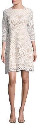 Gabby Skye Quarter-Sleeve Pineapple Lace Sheath Dress